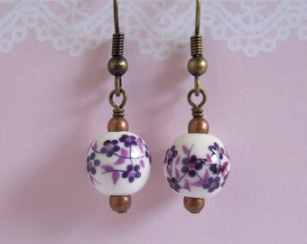 Purple Plum Flower Earrings Handmade Ceramic Jewerly