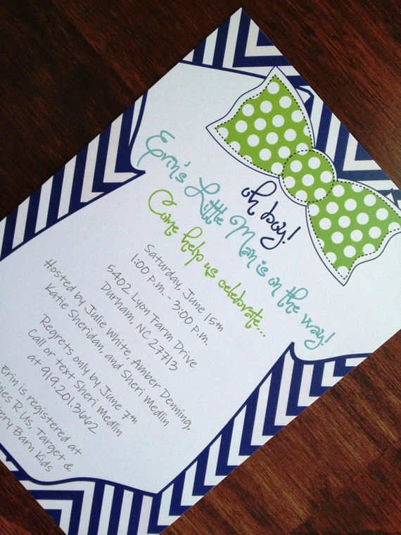 bow tie baby shower invitation baby boy shower invitation custom