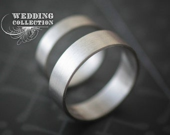 Palladium Wedding Bands 4mm & 6mm All Recycled Metal Hand Forged