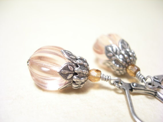 Custom Order for Cindy, Pink glass earrings vintage style spring blossoms