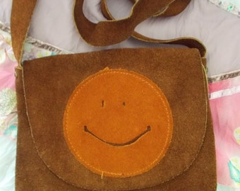 Vintage 1970s Original Suede Happy Face Hippie Boho Purse