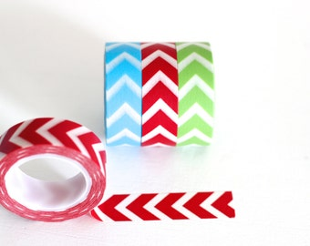 SALE Chevron washi tape, choose 1 roll, aqua blue, red, or green Japanese masking tape craft supply Choose your color