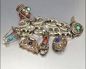 Silver Etruscan Art Deco Bracelet Peruzzi Italy Fob Charm Bracelet 1930s Art Deco Jewelry