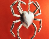 Steampunk Necklace Sterling Silver Spider Heart Charm Spider Pendant Steampunk Jewelry Heart Jewelry Spider Jewelry Spider Valentines Day