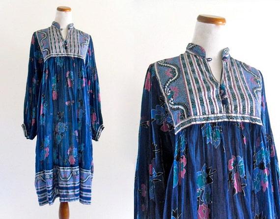 70s Vintage Sheer Cotton Gauze Kaiser India Boho Hippie FestivaL Caftan DreSs Tent Gypsy. ML .  XL . Plus Size . D015