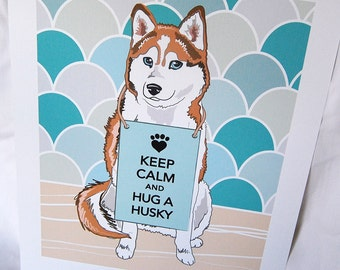 Keep Calm Red Husky with Scaled Background - 7x9 Eco-friendly Print