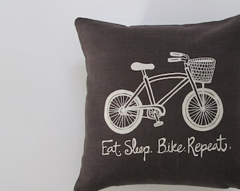 Eat Sleep Bike Repeat Pillow Cover Cushion Cover Bicycle - Eat. Sleep. Bike. Repeat - 12 x 12 inches - Choose your fabric and ink color