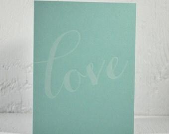 SALE - Letterpress Valentine - love - white ink on pool - valentines, wedding, anniversary