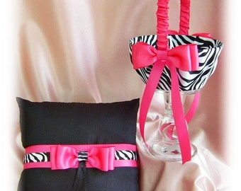 Hot pink and zebra weddings ring bearer pillow and flower girl basket, hot pink and black or custom colors