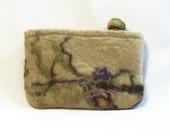 Needle Felted Coin Purse Tan with Abstract Design