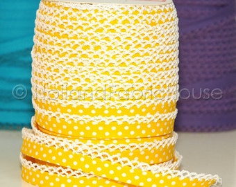 5 METERS - Bias Tape Double Fold Yellow Polka Dot Cotton and Crochet Lace