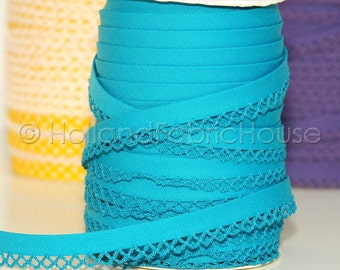 Double fold picot crochet edge bias tape, crochet bias tape, lace bias tape, picot edge bias, ocean blue solid bias tape