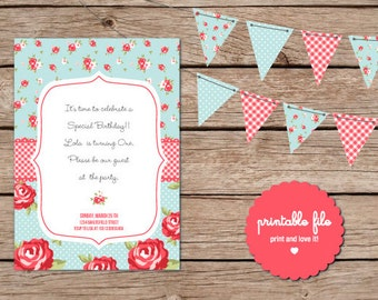 Shabby Chic Birthday Invitation. Printable