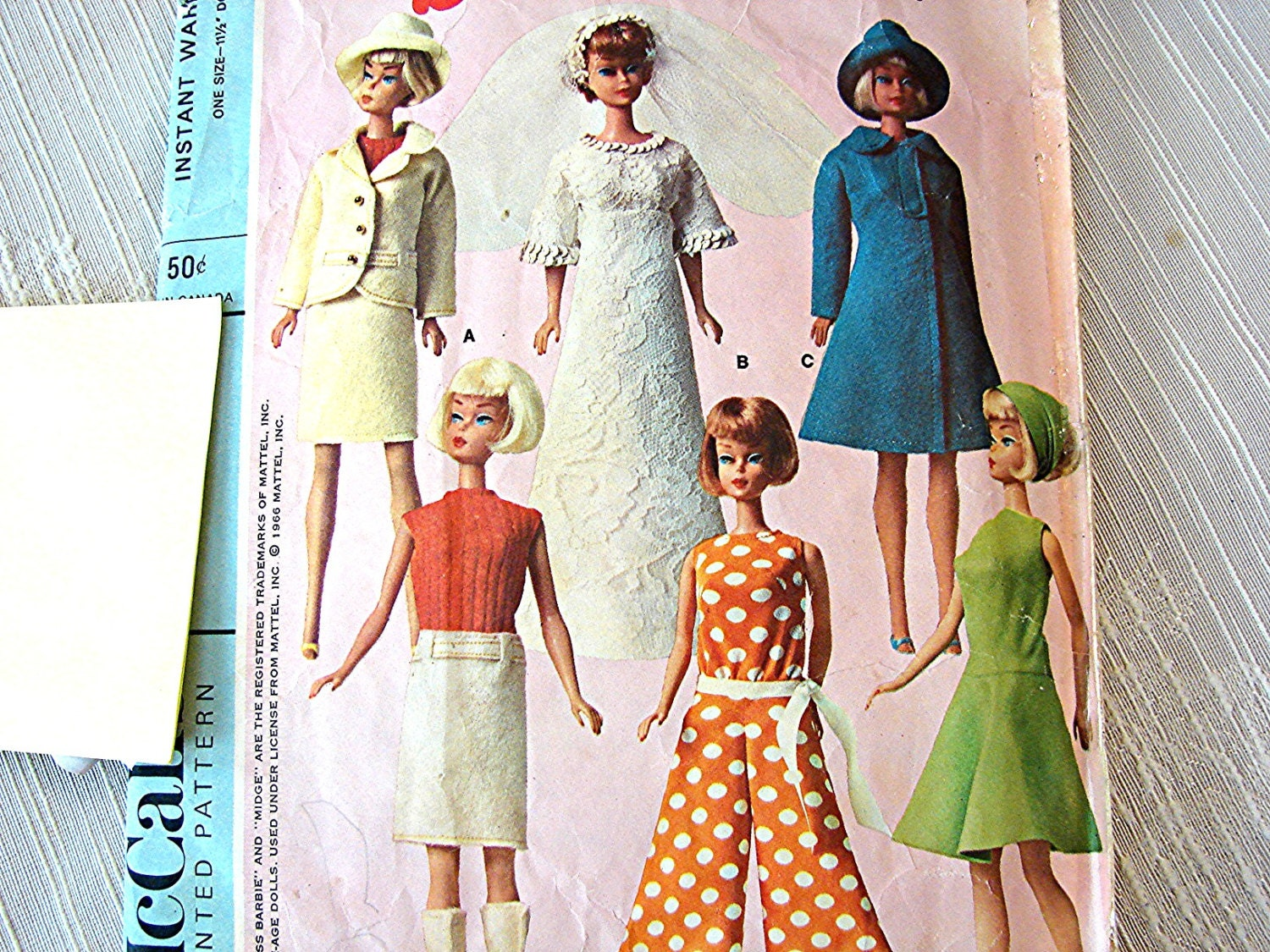 Vintage 1960s Barbie Doll Clothes Pattern Teen Model Doll