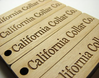 Custom Wooden Hang Tags With Your Shop Name or Logo-Alder Wood (2.5 x .6in)