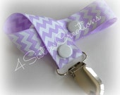 Pacifier Clip Holder Custom Print Light Orchid with White Chevron
