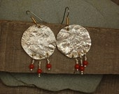 Gypsy Earrings with reticulated fine silver and coral