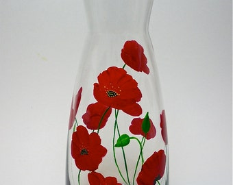 Glass Litre Carafe Hand Painted Red Poppies