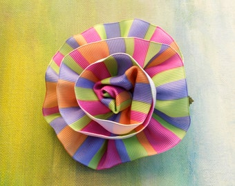 SUMMER FLOWER POWER Multi Color  Ribbon Rosette Pin....