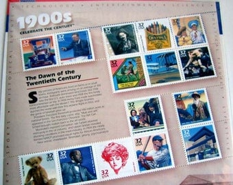 1900s: The Dawn of the 20th Century, Sheet of 15, Celebrate The Century USPS Postage Stamps 1998 32 Cents