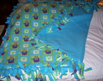 No Sew Tie Fleece Double Layered Bumble Bee&Hearts Baby/Toddler Blanket-NEWLY MADE