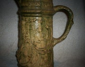 PITCHER Jug Antique Stoneware Tavern Ale Cathedral Catacomb Monks Yelloware Majolica Pottery