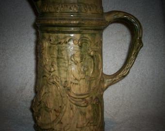 Antique Stoneware Pitcher Jug Relief Yellow Ware Green Glaze Rare