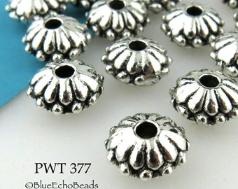 12mm Pewter Flower Spacer Beads Antique Silver 12mm (PWT 377) 6 pcs BlueEchoBeads