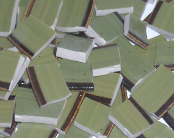 Vintage Green and brown Mosaic Tiles cut From Saucers A6