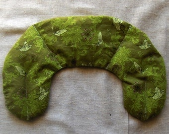 Flaxseed Eye and Jaw Pillow - Microwavable - Flax seed pillows - Olive Green Butterflies - on sale