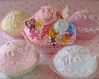 """Alice In Wonderland Inspired """"Mad Hatter's Tea Party Decor Package"""" (1) Jumbo Pink Fake Cupcake (4) Eat Me Cupcakes Fab Mother's Day Gift"""
