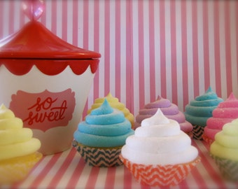 "Fake Cupcakes ""Candy Land Chevron Collection"" Set of 6 Standard Size Cupcakes Original 12Legs Design Great Photo Shoot Props and Party Decor"