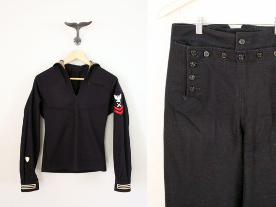 SALE Vintage Navy Uniform // Vintage Mid Century Cracker Jack Suit ...