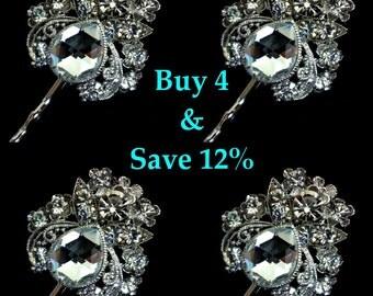 Crystal Bridal Hair Pin Set of 4, Bridesmaids Gifts, Bridal Hair Jewelry, Swarovski Crystal Bridal Headpiece, Silver Wedding Hair Pin, LENA