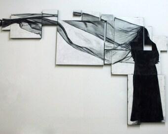 Reconstructions - Waiting - mixed media encaustic artwork