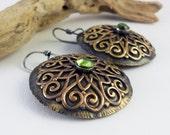 xX ON SALE Xx Sterling silver Tribal earrings in brass with Peridot birthstone  - Gladiatrix XV -