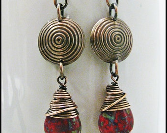 Wire Wrapped Czech Glass Teardops with Domed Antique Copper Bullseyes - Your choice of 11 colors