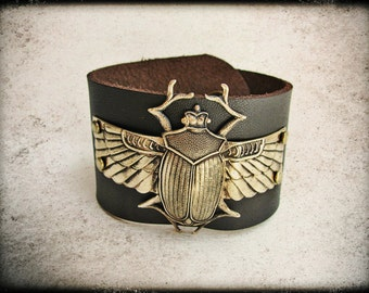 Golden Egyptian Scarab and Brown Leather Cuff