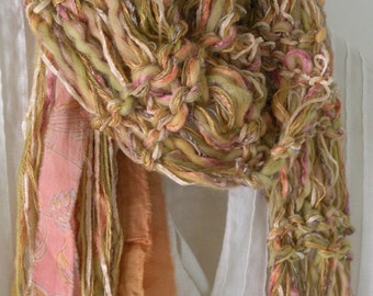 Knit scarf, women's silk sari fringed sweet honey gold rose peach multicolor long winter crochet fashion, soft wool blend cotton i681