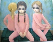 The Ballet Class Margaret Keane Big Eye Girl Lithograph Print 1963 Large Folded