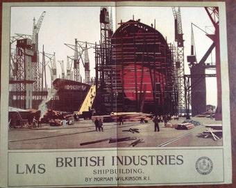 LMS British Industries Shipbuilding  Vintage German Advertising Poster by Norman Wilkinson 11 x 16