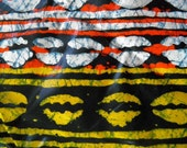 Kiss - Original African Wax Print Fabric - 100 % Cotton - Graphic Pattern Fiery Colors