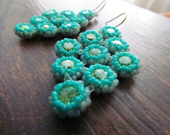 SEA BREEZE-Swarovski Crystal and Aqua & Teal Seed Bead Chandelier Earrings