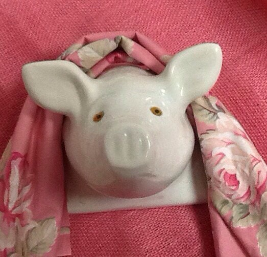 White Ceramic Pig Head Towel Or Apron Holder By