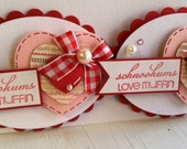 SALE - Sweet Valentine's Day Embellishments - Set of 2 heart tags -