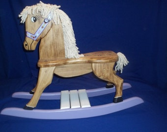 Handmade Rocking Horse with Purple accents