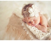 Crochet textured baby wrap/photography blanket - ivory - cream
