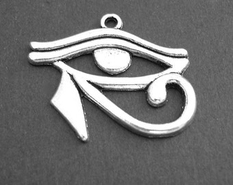 4 Eye of Horus Pendants Charms Antiqued Silver