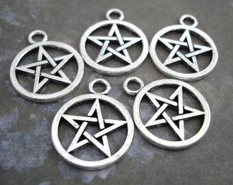 5 Silver Pentagram Star Charms Pendants