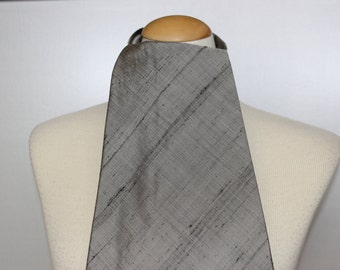 Vintage Ascot Cravat Raw Silk Walter Handley Hand Made Silver Grey